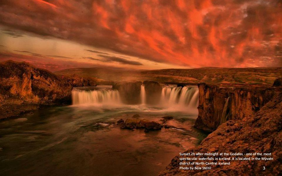 Sunset 2h after midnight at the Godafos - one of the most spectacular waterfalls in Iceland. It is located in the Mývatn district of North-Central Iceland