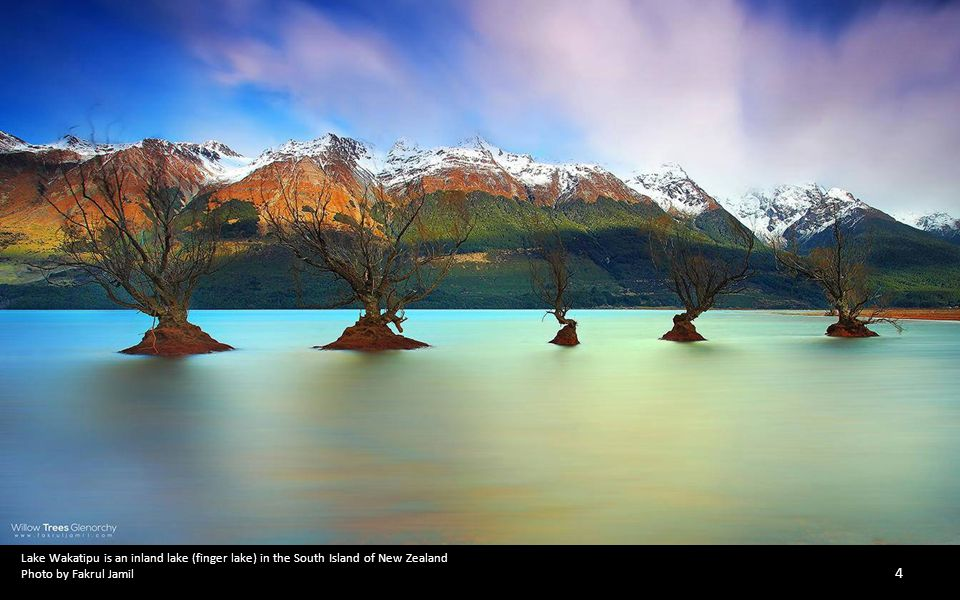 Lake Wakatipu is an inland lake (finger lake) in the South Island of New Zealand