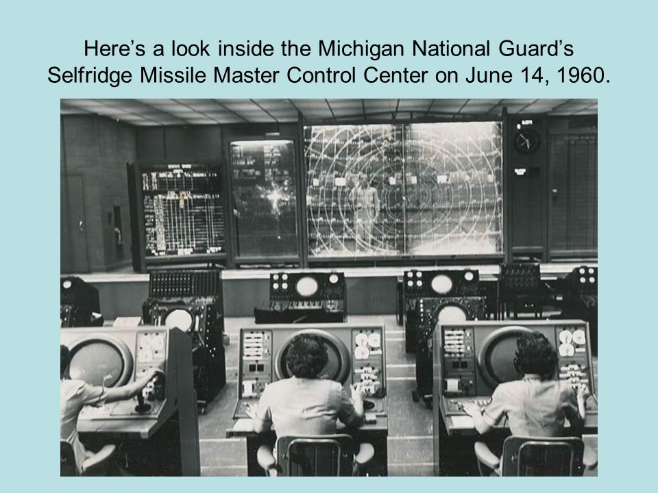 Here's a look inside the Michigan National Guard's Selfridge Missile Master Control Center on June 14, 1960.