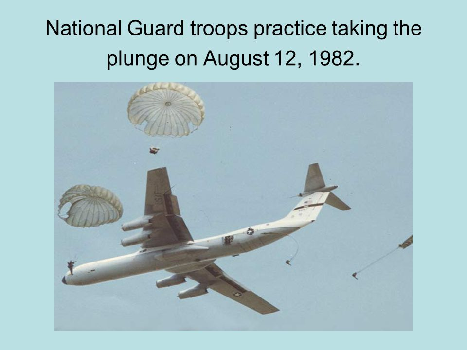National Guard troops practice taking the plunge on August 12, 1982.