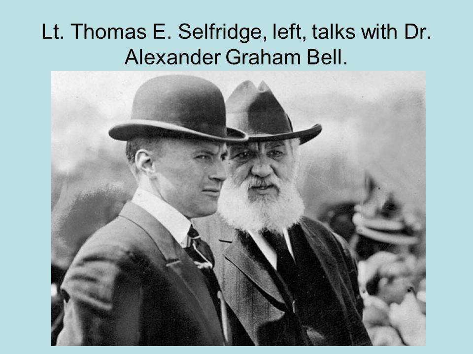 Lt. Thomas E. Selfridge, left, talks with Dr. Alexander Graham Bell.