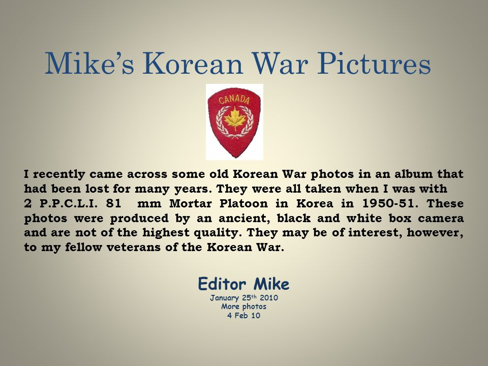 Mike's Korean War Pictures
