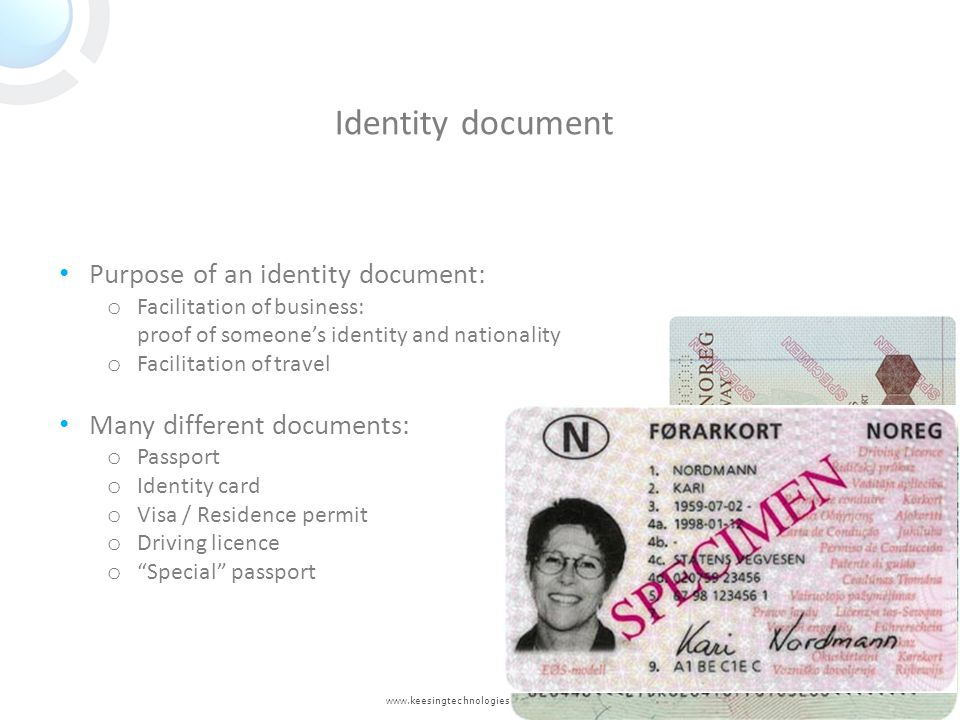Identity document Purpose of an identity document: