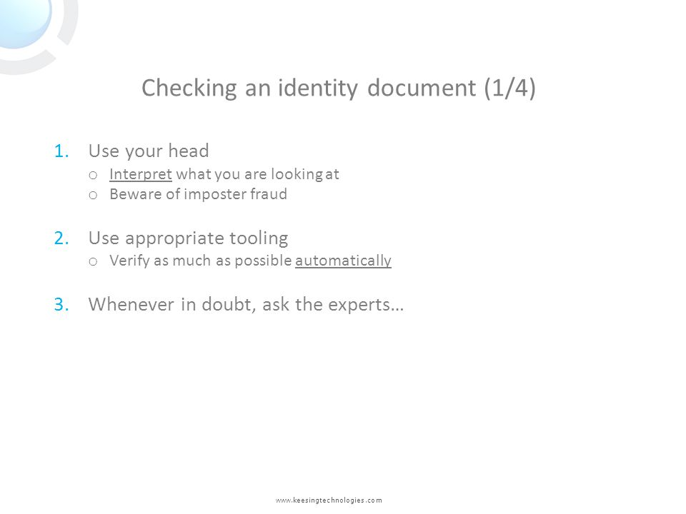 Checking an identity document (1/4)