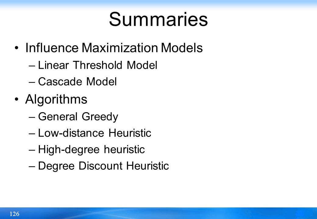 Summaries Influence Maximization Models Algorithms