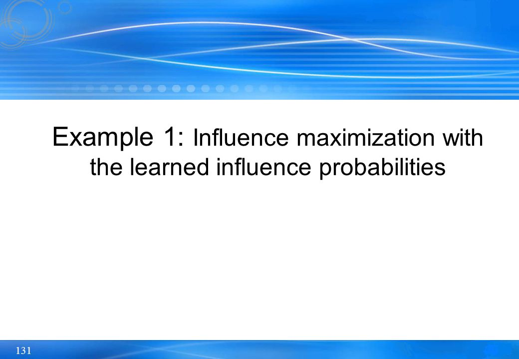 Example 1: Influence maximization with the learned influence probabilities