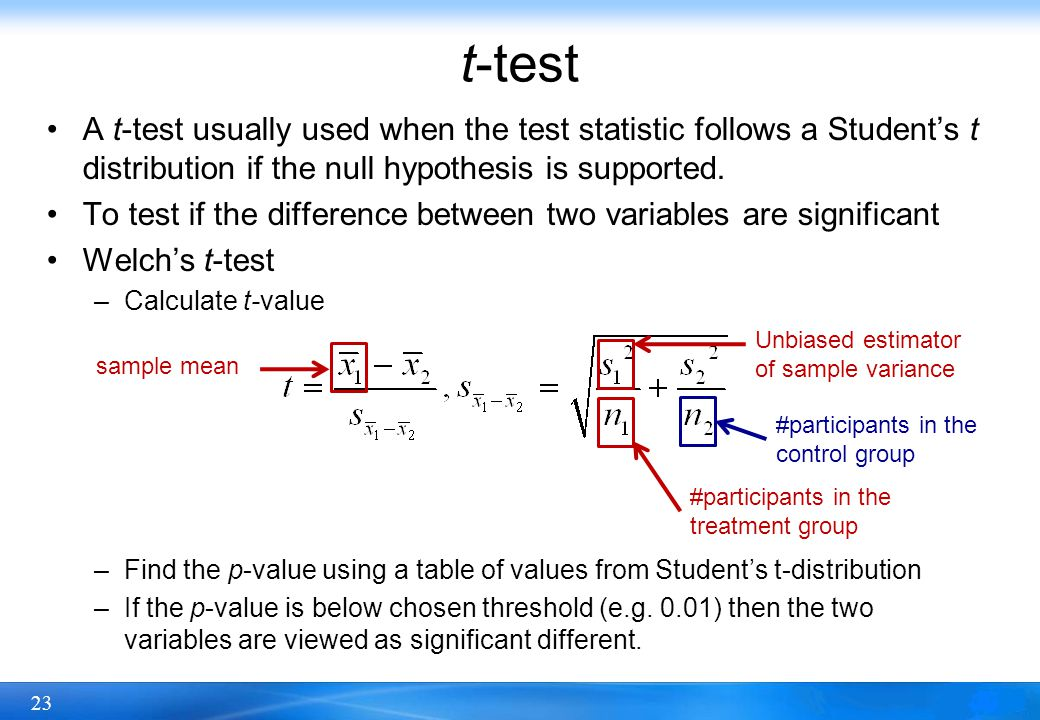 t-test A t-test usually used when the test statistic follows a Student's t distribution if the null hypothesis is supported.
