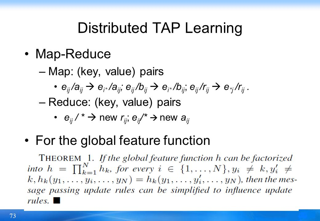 Distributed TAP Learning