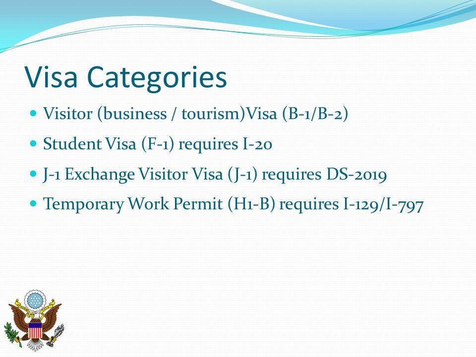 Visa Categories Visitor (business / tourism)Visa (B-1/B-2)