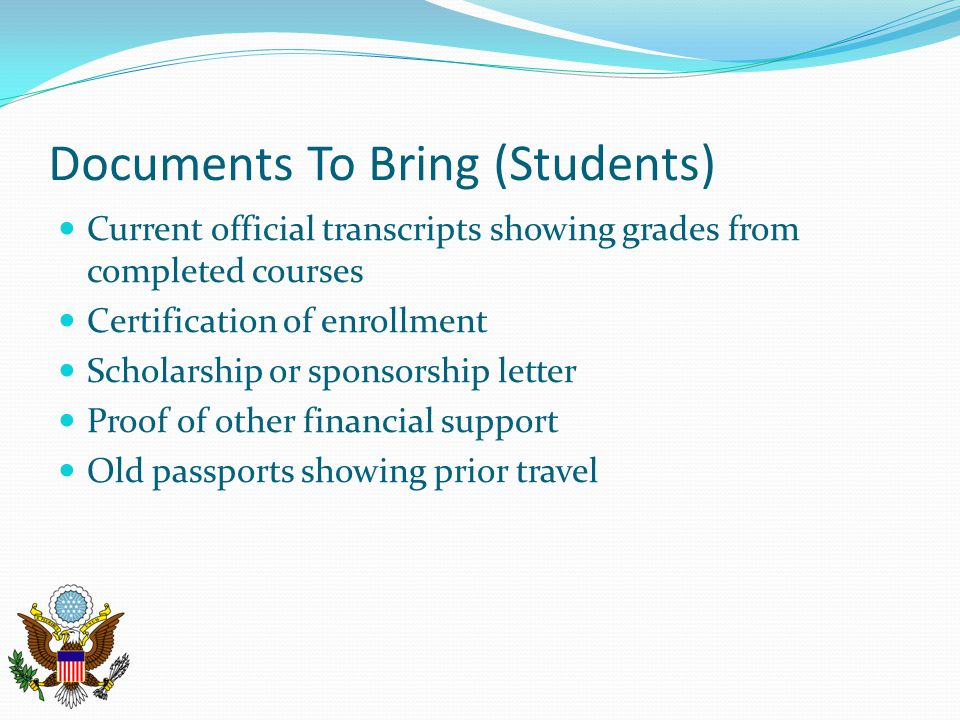 Documents To Bring (Students)