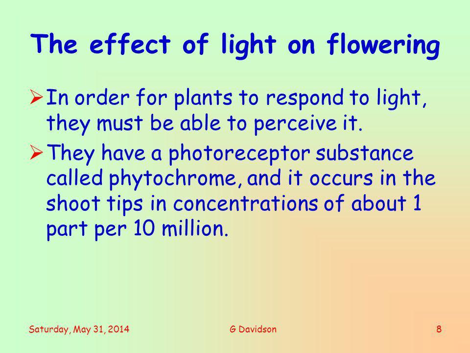 The effect of light on flowering