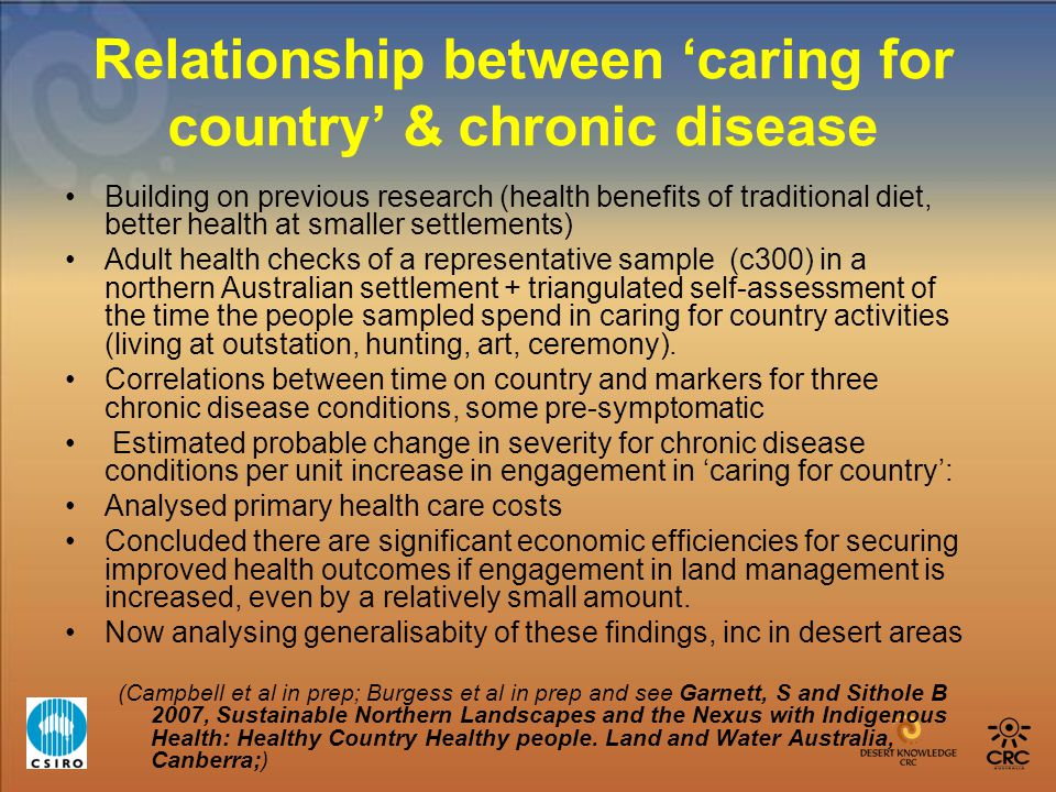 Relationship between 'caring for country' & chronic disease