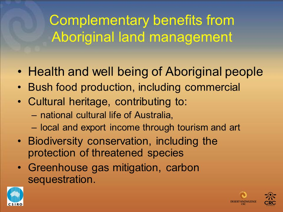 Complementary benefits from Aboriginal land management