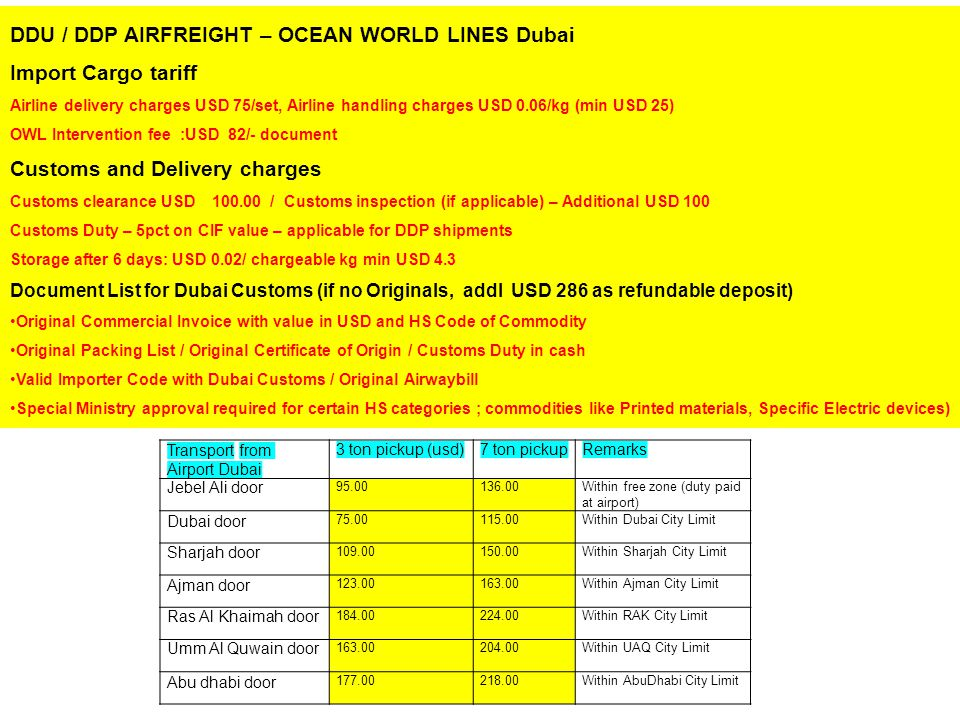 DDU / DDP AIRFREIGHT – OCEAN WORLD LINES Dubai Import Cargo tariff