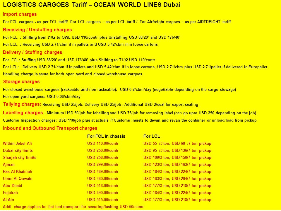 LOGISTICS CARGOES Tariff – OCEAN WORLD LINES Dubai