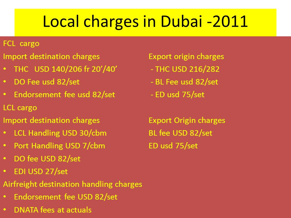 Local charges in Dubai -2011