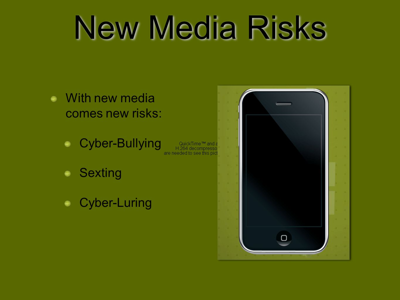 New Media Risks With new media comes new risks: Cyber-Bullying Sexting