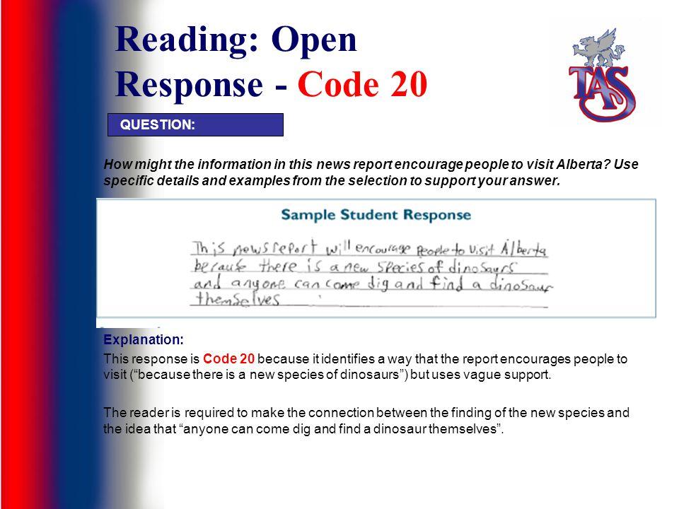 Reading: Open Response - Code 20
