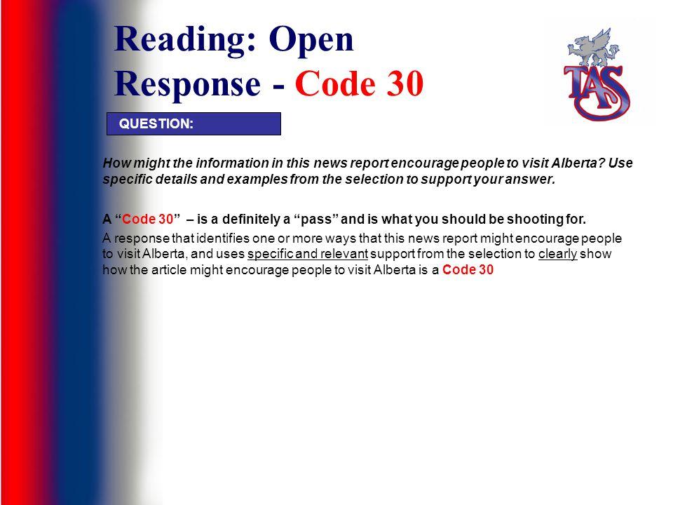Reading: Open Response - Code 30