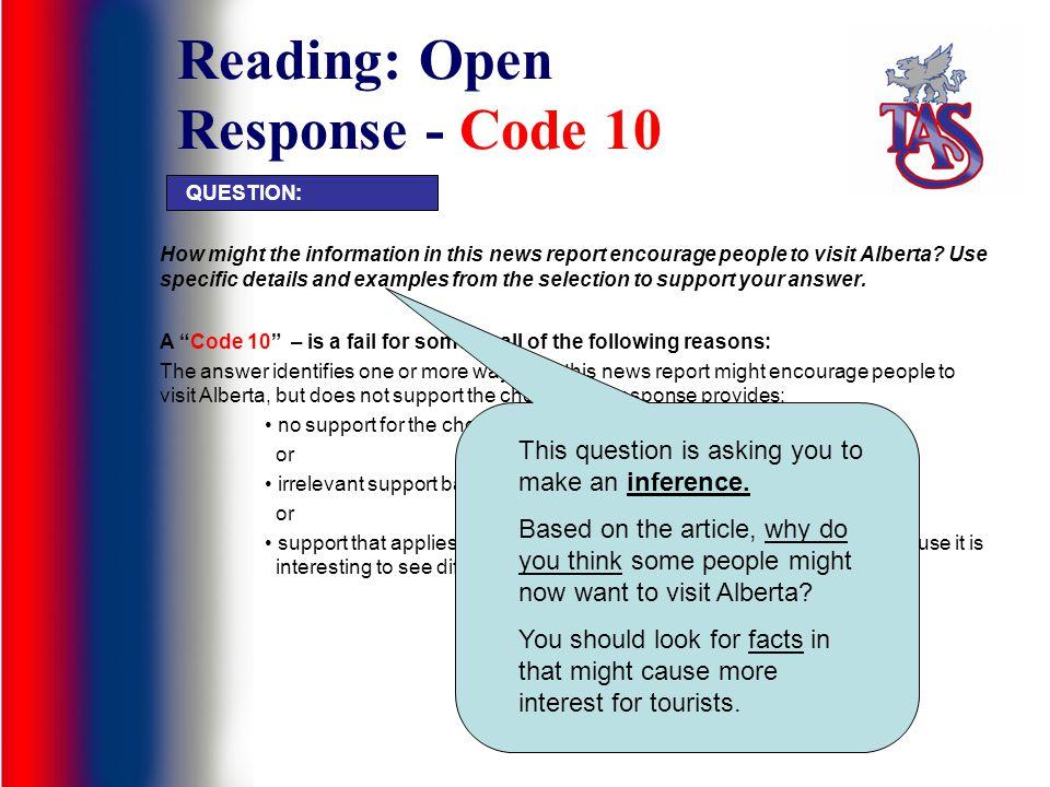 Reading: Open Response - Code 10