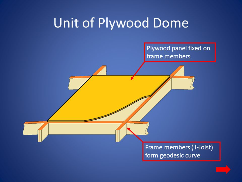 Unit of Plywood Dome Plywood panel fixed on frame members