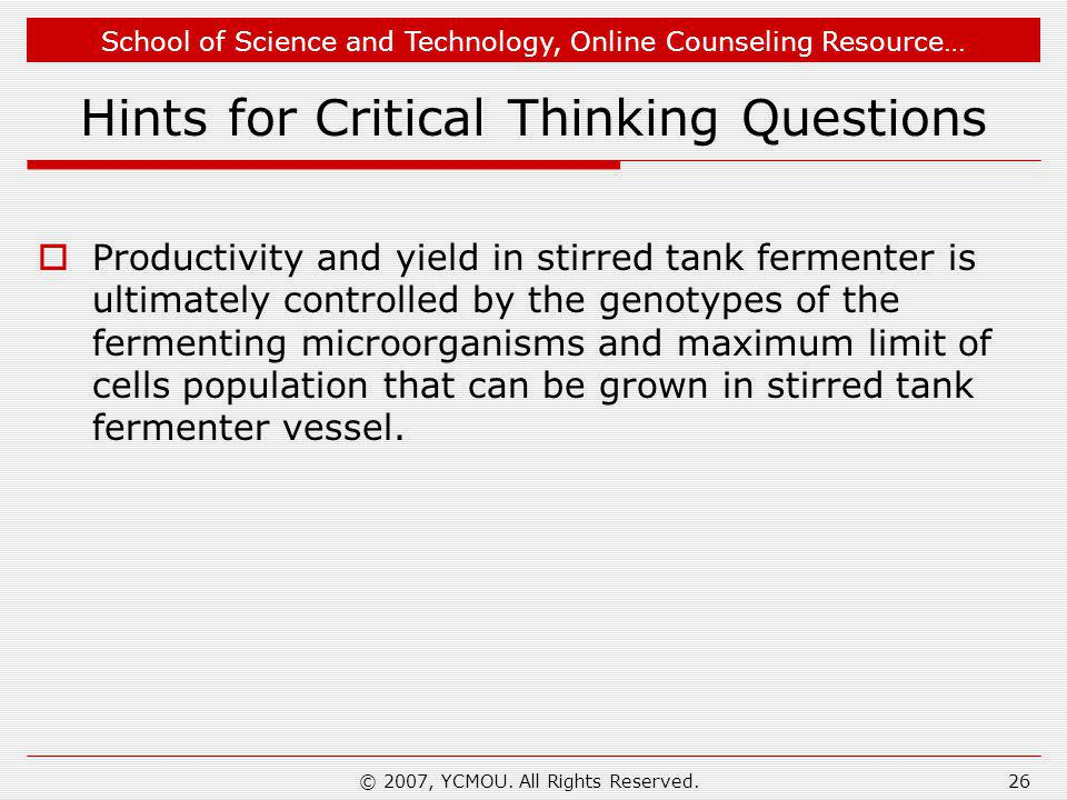 Hints for Critical Thinking Questions