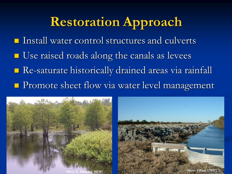 Restoration Approach Install water control structures and culverts