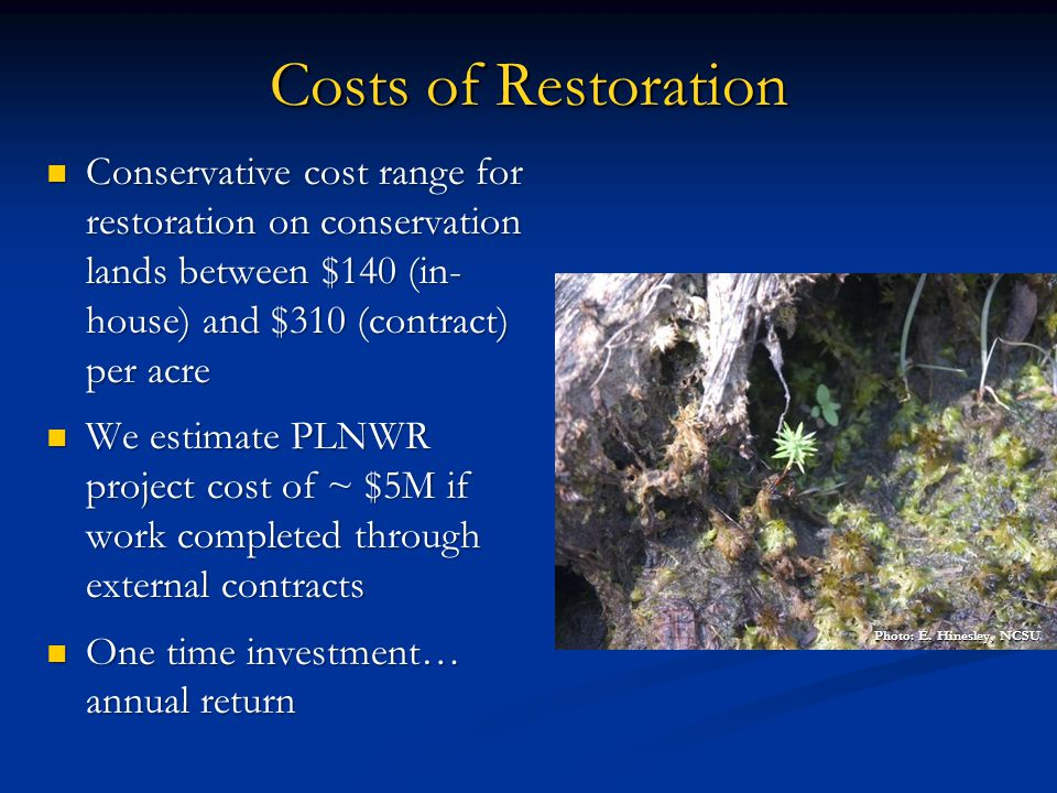 Costs of Restoration Conservative cost range for restoration on conservation lands between $140 (in- house) and $310 (contract) per acre.