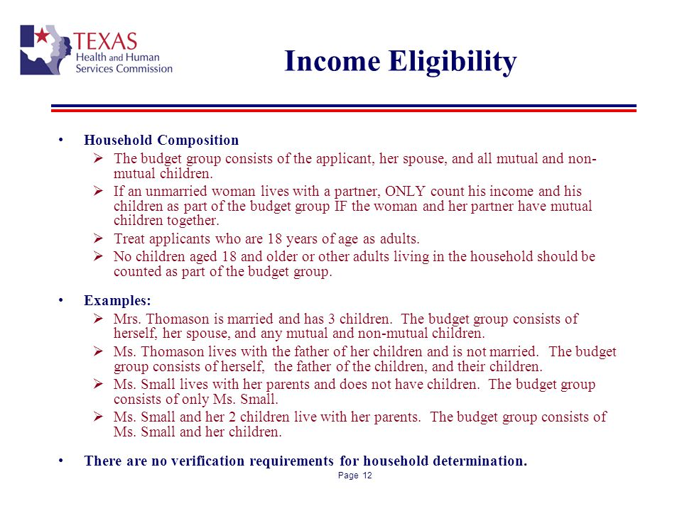 Income Eligibility Household Composition