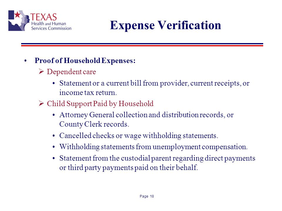 Expense Verification Proof of Household Expenses: Dependent care