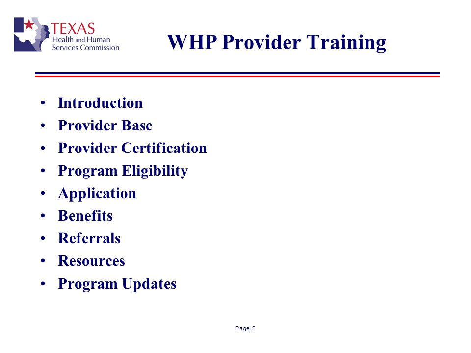 WHP Provider Training Introduction Provider Base