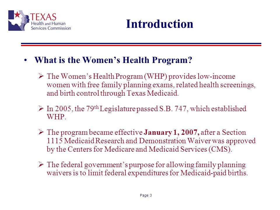 Introduction What is the Women's Health Program