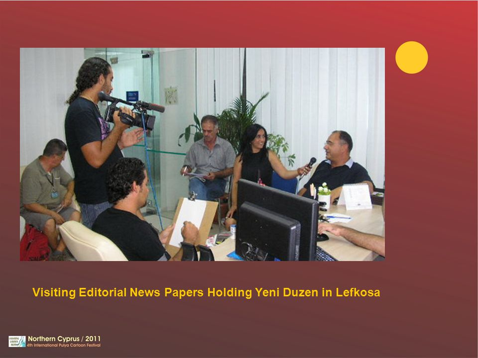 Visiting Editorial News Papers Holding Yeni Duzen in Lefkosa