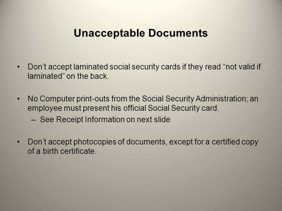 Unacceptable Documents