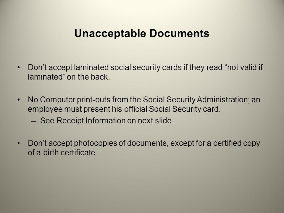 Unacceptable Documents