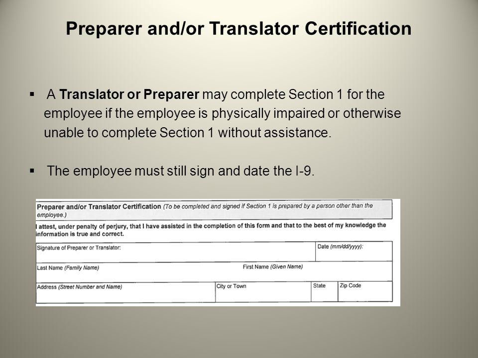 Preparer and/or Translator Certification
