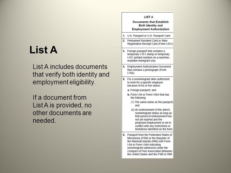 List A that verify both identity and employment eligibility.
