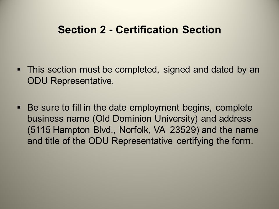 Section 2 - Certification Section