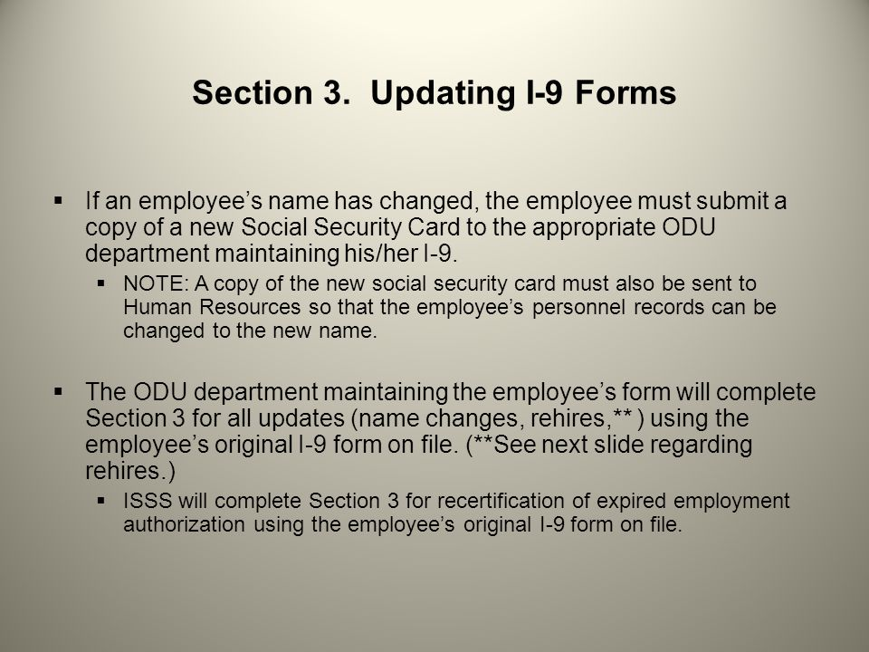 Section 3. Updating I-9 Forms