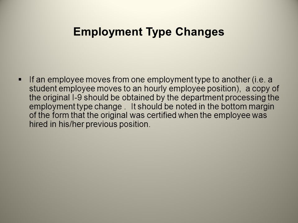Employment Type Changes
