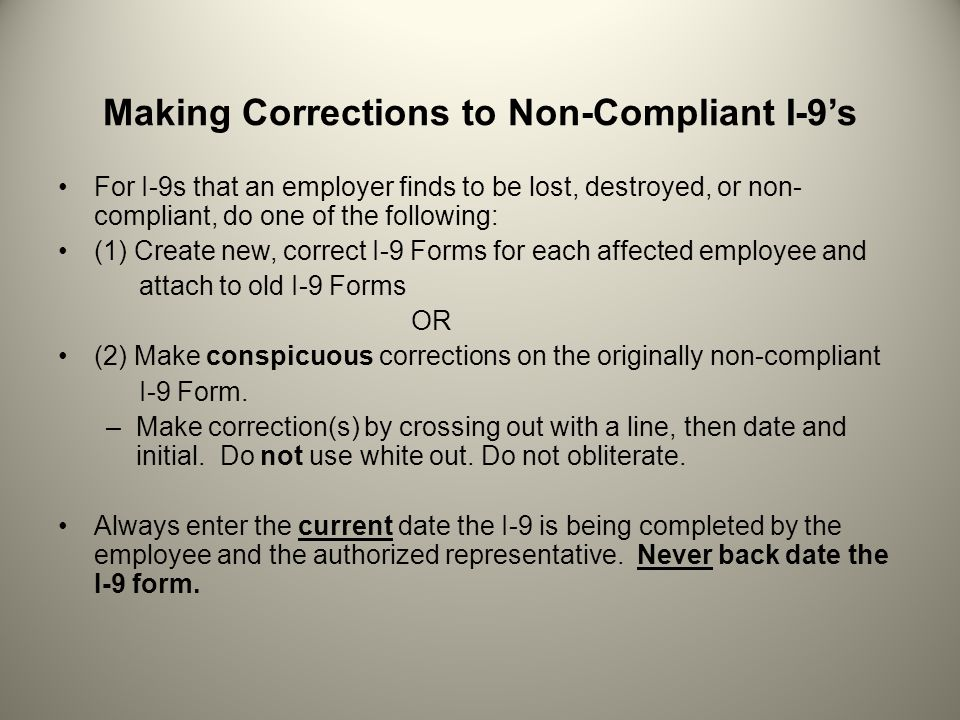Making Corrections to Non-Compliant I-9's
