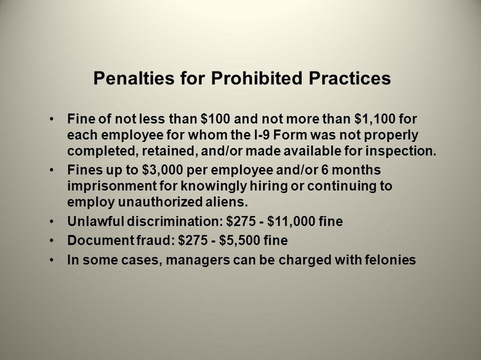 Penalties for Prohibited Practices