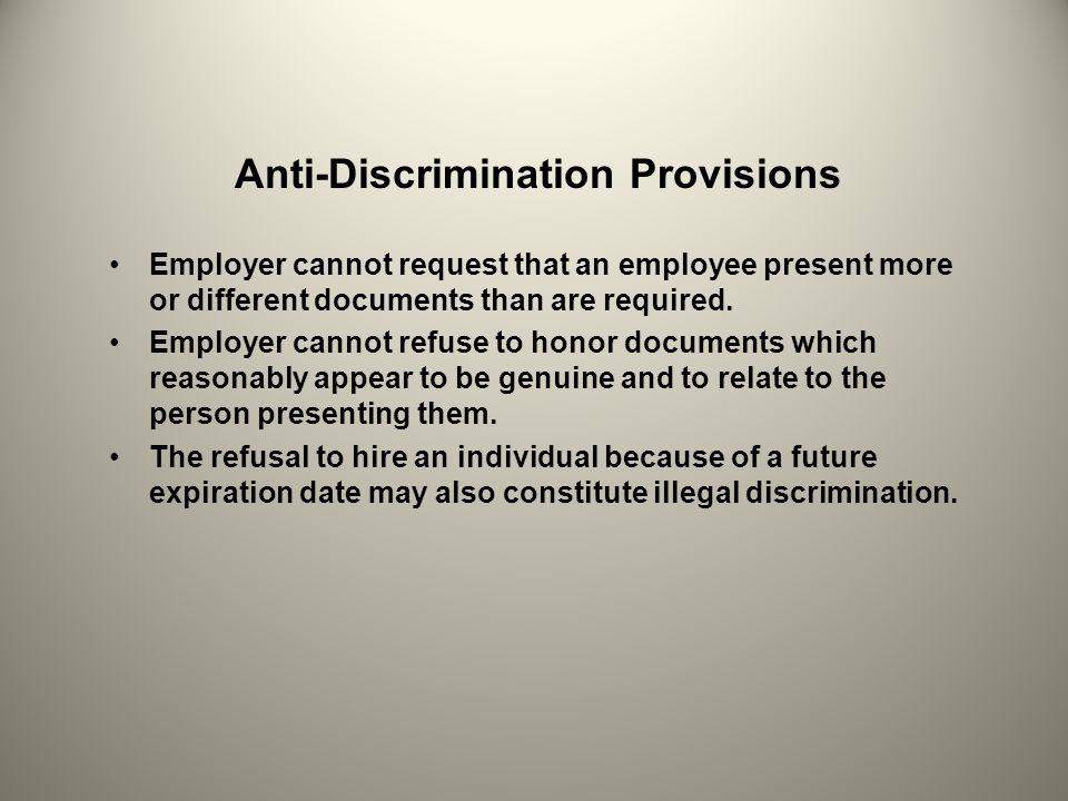 Anti-Discrimination Provisions