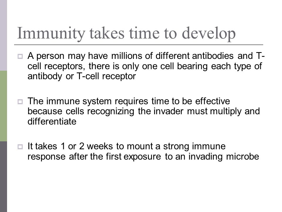 Immunity takes time to develop