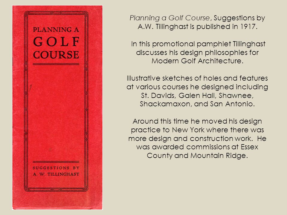 Planning a Golf Course, Suggestions by A. W