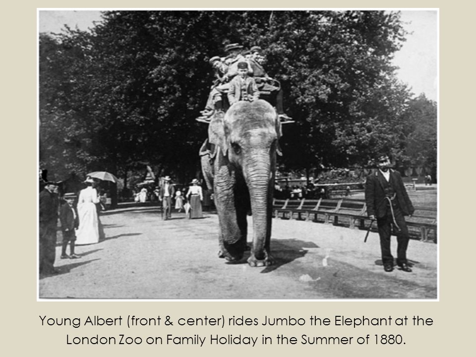 Young Albert (front & center) rides Jumbo the Elephant at the London Zoo on Family Holiday in the Summer of 1880.