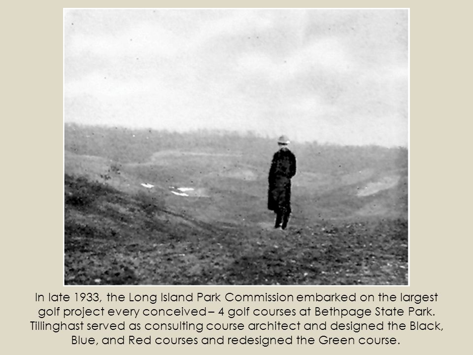 In late 1933, the Long Island Park Commission embarked on the largest golf project every conceived – 4 golf courses at Bethpage State Park.