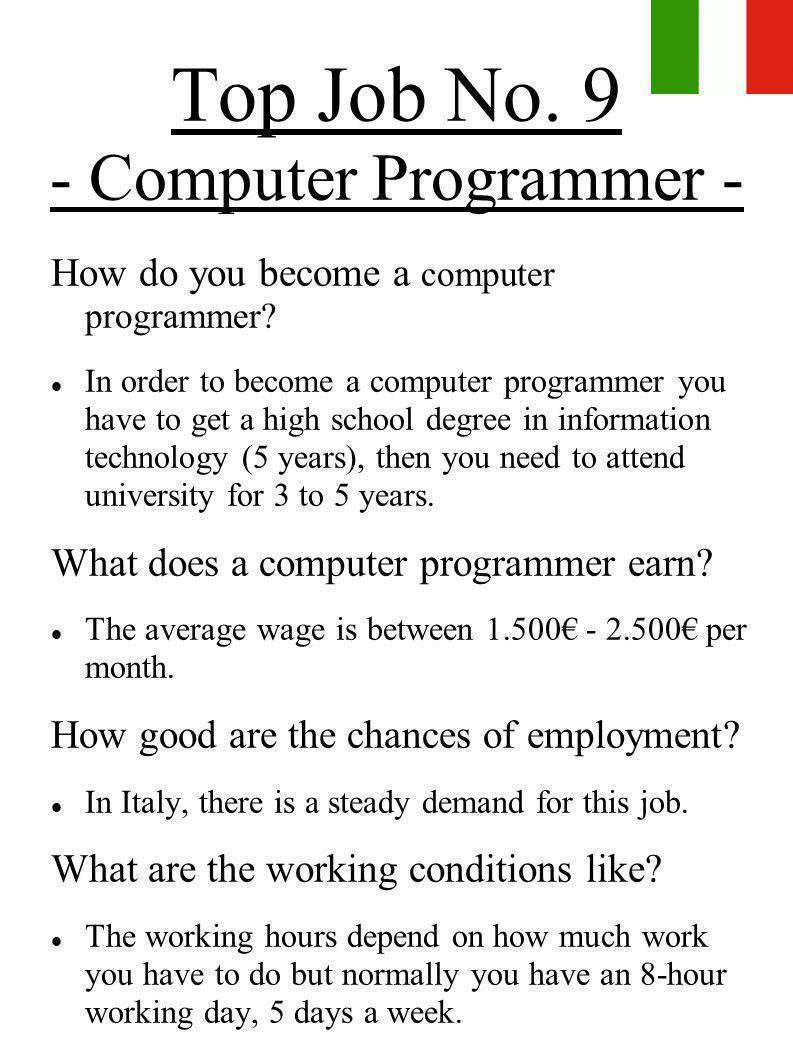 Top Job No. 9 - Computer Programmer -