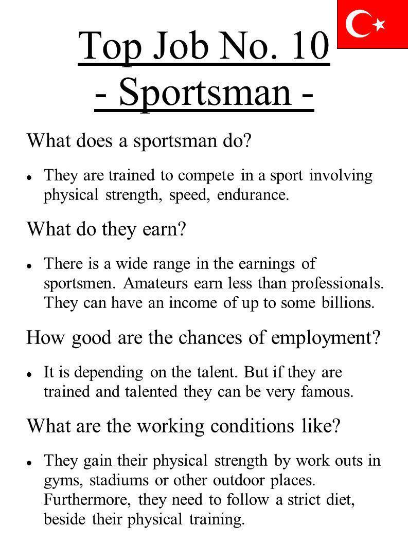 Top Job No. 10 - Sportsman - What does a sportsman do