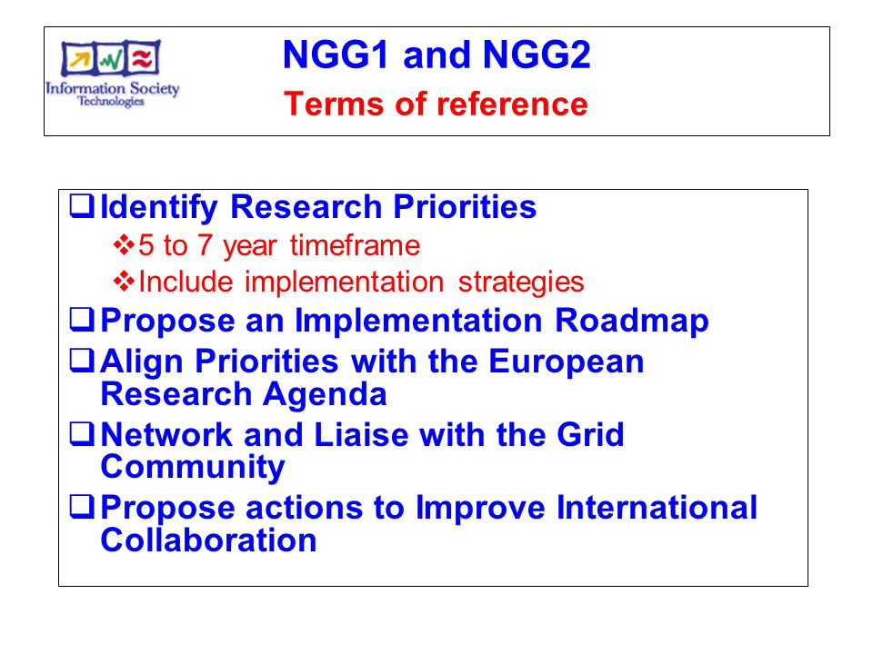 NGG1 and NGG2 Terms of reference